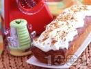 Рецепта Морковен кекс (сладкиш) с ананас, орехи и глазура със сушени портокалови корички